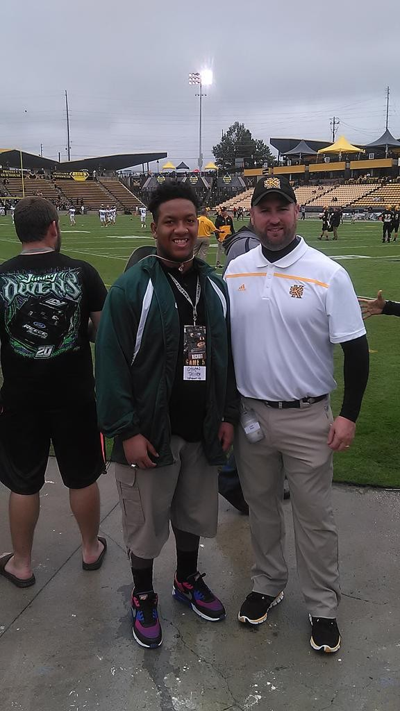 Freshman offensive lineman, Chilton Tolliver, takes first college visit. Kennesaw State coach Liam Klein alongside.